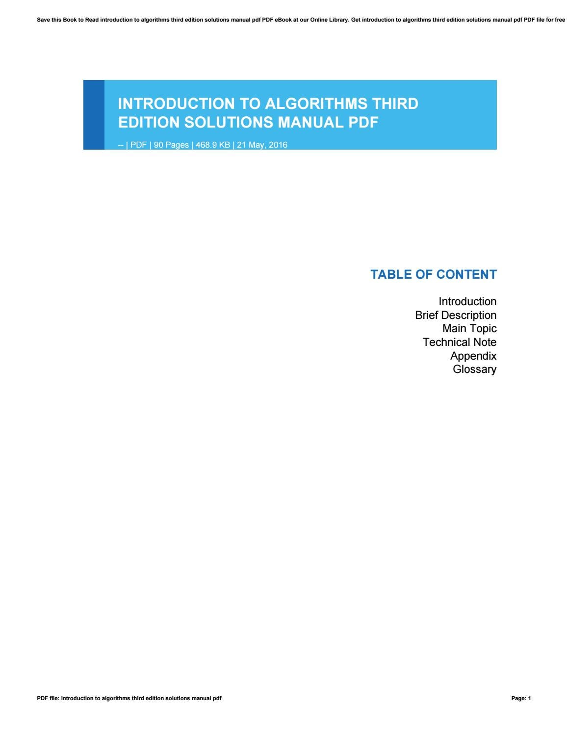 introduction to algorithms solution manual
