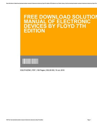 electronic devices by floyd 7th edition solution manual pdf