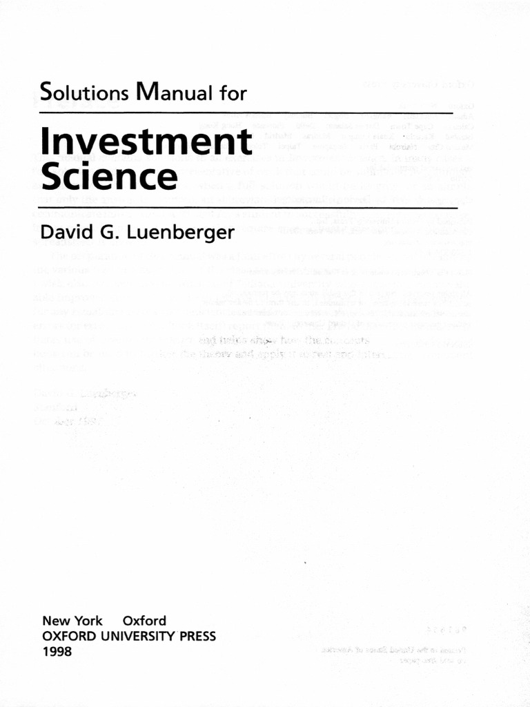 investment science luenberger solutions manual pdf
