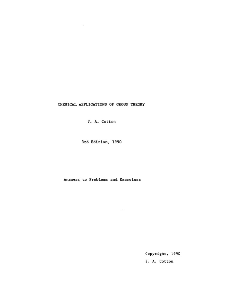 chemical applications of group theory solutions manual pdf